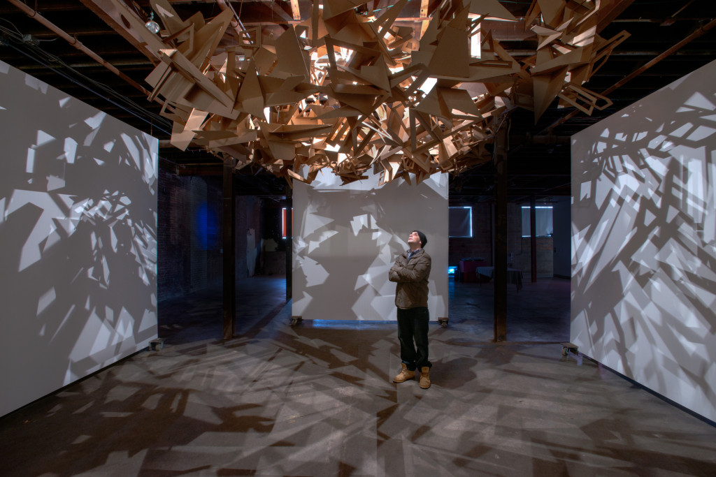 "Interactive light installation ""Builders of the Universe"""